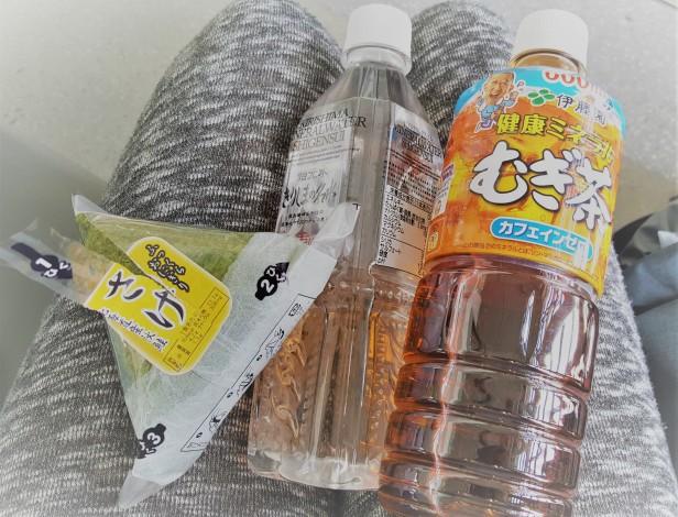 Onigiri, Mugi-cha und Wasser