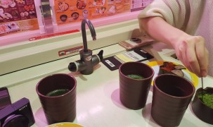 Kostenloser grüner Tee im Restaurant