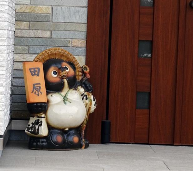 Ein Tanuki vor einer Haustür