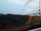 Blick aus dem Zugfenster kurz vor Ankunft in Fukuoka